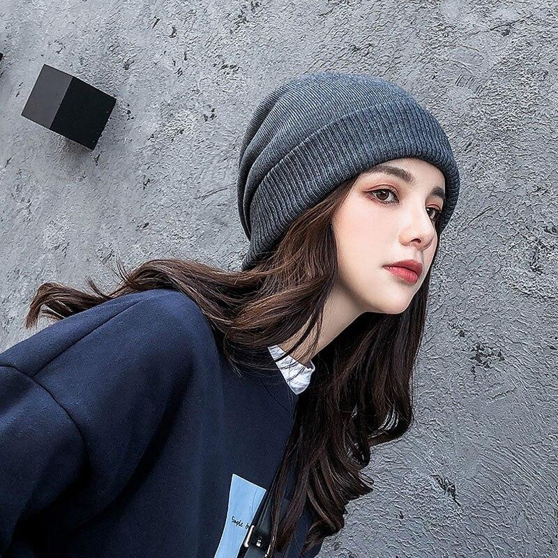 MAXSITI U Wool skullies unisex winter fashion solid knit warm hat thicken casual hat