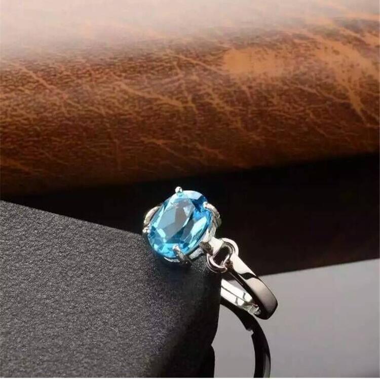 купить Blue topaz ring Free shipping Natural real bllue topaz 925 sterling silver jewelry 7*9mm Gem