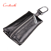 CONTACTS Womens Genuine Cow Leather Wallets Key Ring Men Car Key Ring Cardkin Holders Carteira Free