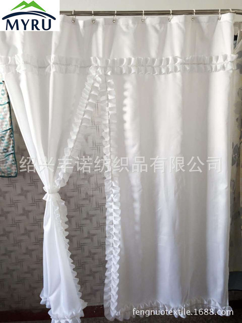 European Style White Lace Shower Curtain Waterproof Unique For Bathroom