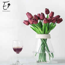 Erxiaobao High Quality Fake Tulips 30 Pieces/Lot Artificial Flowers Blue Pink Purple Green Red White PU for Home Wedding