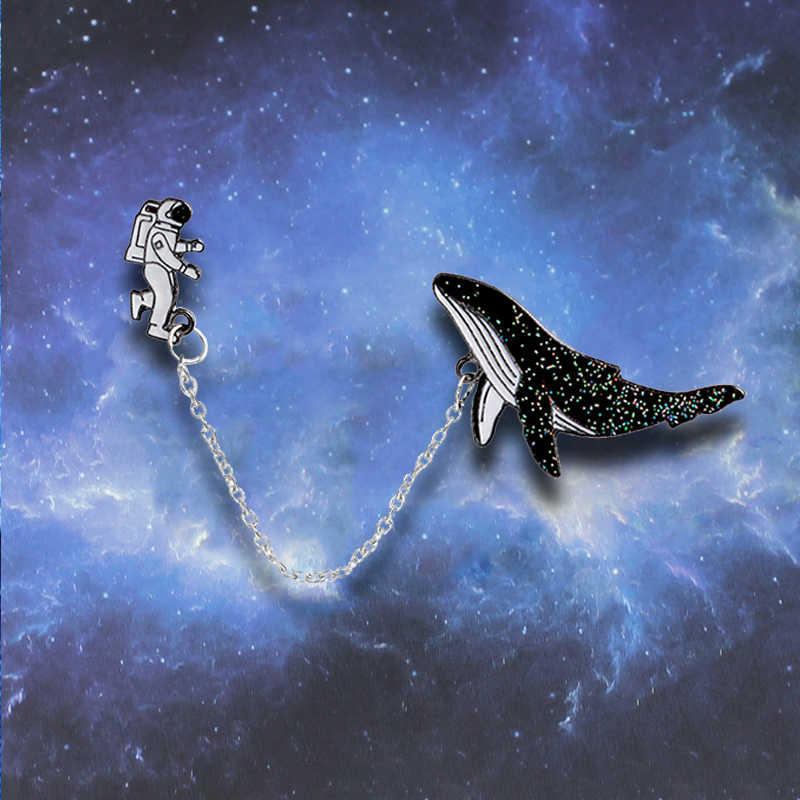 Exquisite Cartoon Astronauts Whale Big Fish Chain Brooches Animal For Collar Scarf Badge Girls Brooch Gift