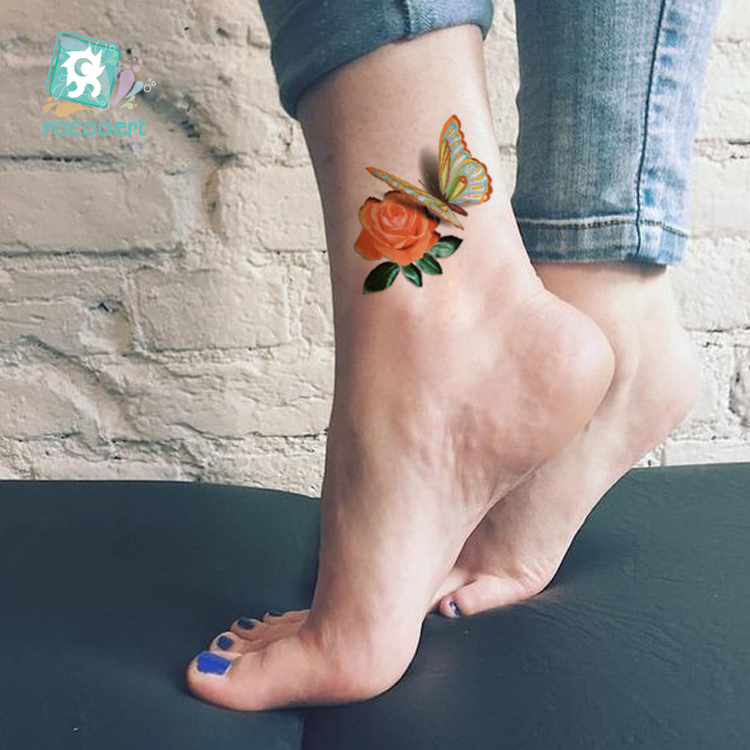 8-26x3-9-inch-3D-Colorful-Body-Art-Temporary-Tattoos-Waterproof-Sticker-With-Butterfly-Flowe-Design