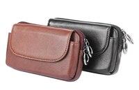 Man Belt Clip Genuine Cow Leather Mobile Phone Case For BlackBerry Motion ZTE Blade Force Google