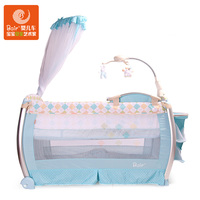 Multi Function Baby Game Bed Baby Crib With Wheel Mosquito Net Baby Cradle Double Design Foldable