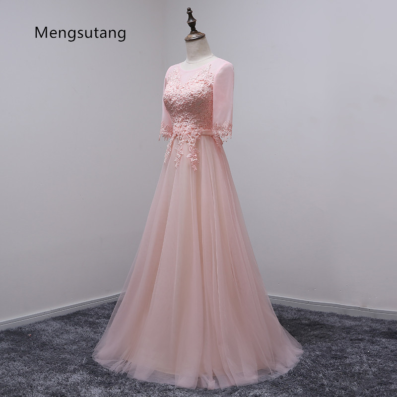 Robe de soiree 2017 Banquet Sweet Pink Scoop Neck Half Sleeve Transparent Lace Embroidery A line