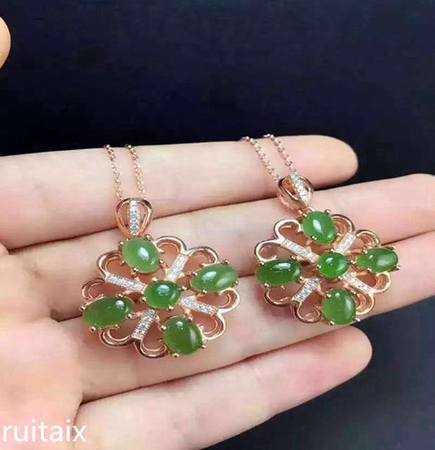 08a452478864 KJJEAXCMY boutique joyas S925 incrustaciones de plata pura jade natural  señora colgante + collar dinero joyería