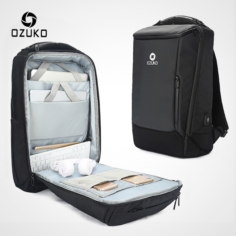 OZUKO ชาย 17 นิ้วแล็ปท็อปกระเป๋าเป้สะพายหลังขนาดใหญ่ความจุกระเป๋าเป้สะพายหลังกันน้ำสำหรับชาย USB ธุรกิจ Back Pack กระเป๋าเดินทาง mochila-ใน กระเป๋าเป้ จาก สัมภาระและกระเป๋า บน   1