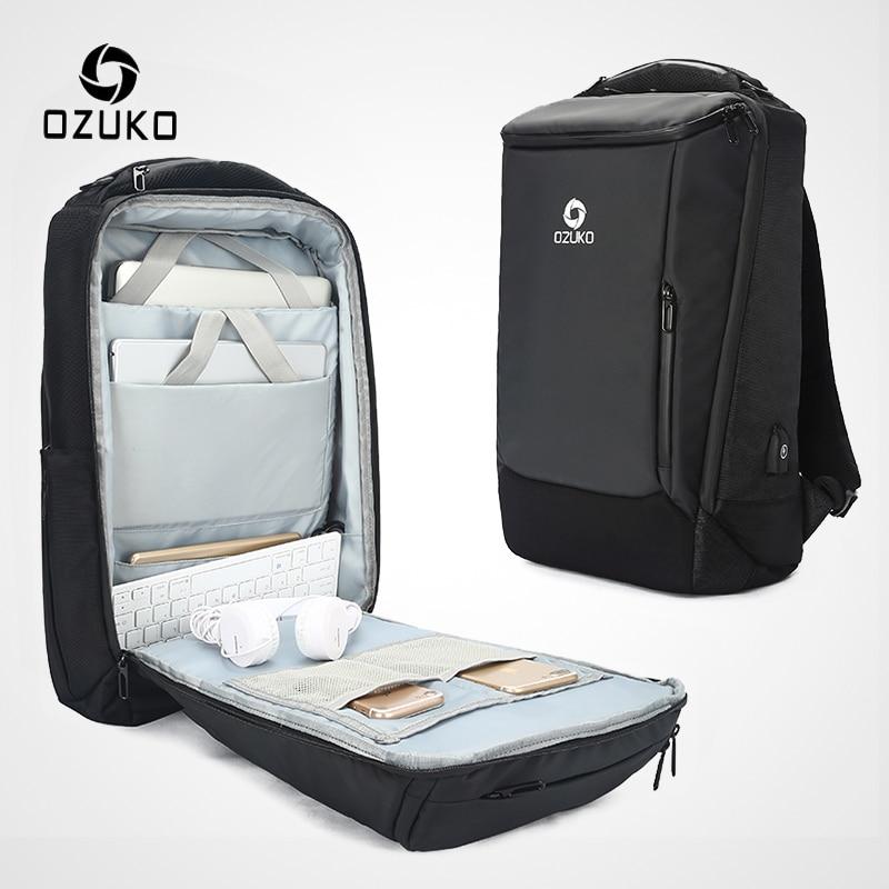 Ozuko 남자 17 인치 노트북 배낭 대용량 방수 배낭 남성 usb 비즈니스 백 팩 여행 가방 mochila-에서백팩부터 수화물 & 가방 의  그룹 1