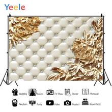 Yeele Leather Bed Headboard Diamond Gold Lace Portrait Photography Backdrop Customized Photographic Backgrounds For Photo Studio