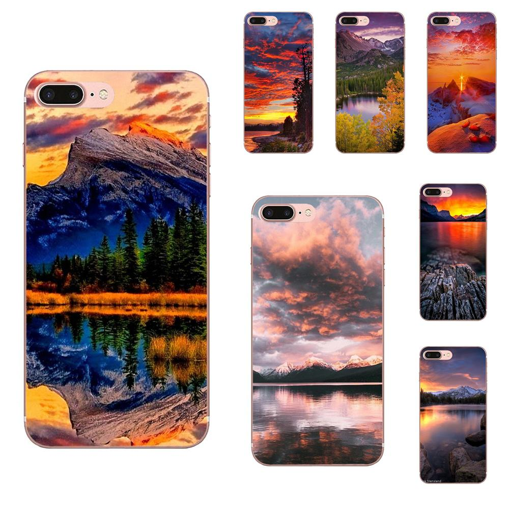 Soft Fashion Case Cover For LG G2 G3 mini spirit G4 G5 G6 K4 K7 K8 K10 2017 V10 V20 V30 Mountain Lake Sunset Landscape Buy image