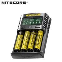 Nitecore UM4 USB four slot QC C4 VC4 LCD Smart Charger IMR INR ICR li ion AA 18650 14500 16340 26650 Charger 3.7 1.2V 1.5V