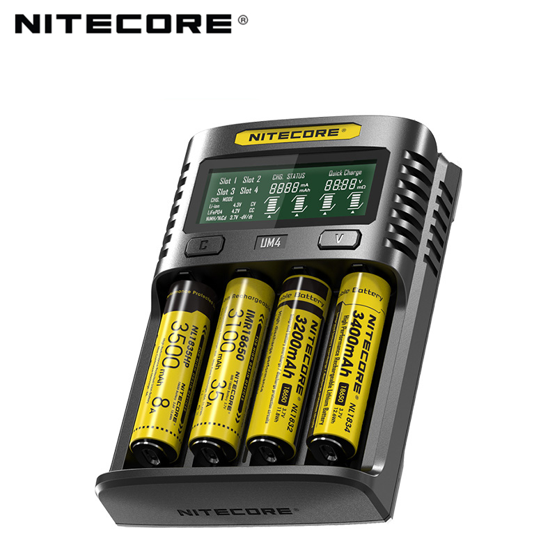 Nitecore UM4 USB four-slot QC C4 VC4 LCD Smart Charger IMR INR ICR li-ion AA 18650 14500 16340 26650 Charger 3 7 1 2V 1 5V