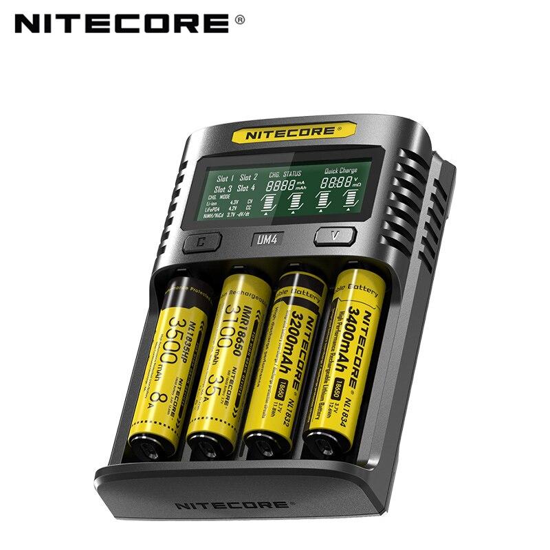 Nitecore UM4 USB quatro-slot QC C4 VC4 LCD Inteligente Carregador IMR INR ICR li-ion AA 18650 14500 16340 carregador 26650 3.7 1.2 V 1.5 V