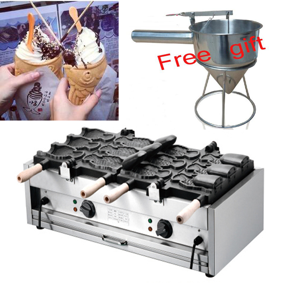 все цены на Free shipping Electric 6 pcs 110v 220v Open mouth Ice cream Taiyaki machine Fish waffle maker