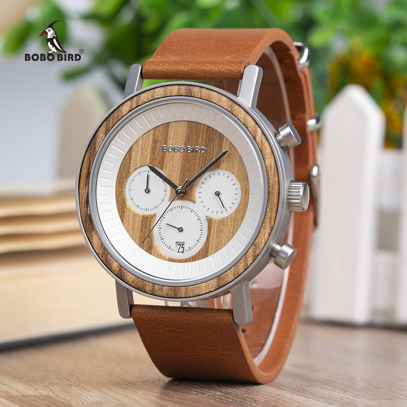 BOBO BIRD Chronograph Men Watches Stainless Steel Relogio Masculino Wooden Watch Women relojes para hombre in
