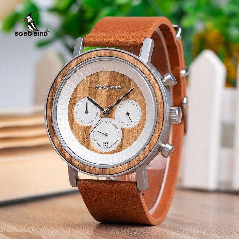BOBO oiseau chronographe hommes montres en acier inoxydable Relogio Masculino montre en bois femmes relojes para hombre en bois boîte-cadeau