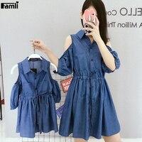 Famli 1pc Mother Daughter Twinning Dresses Family Summer Matching Mom Kids Off Shoulder Half Sleeve Soft