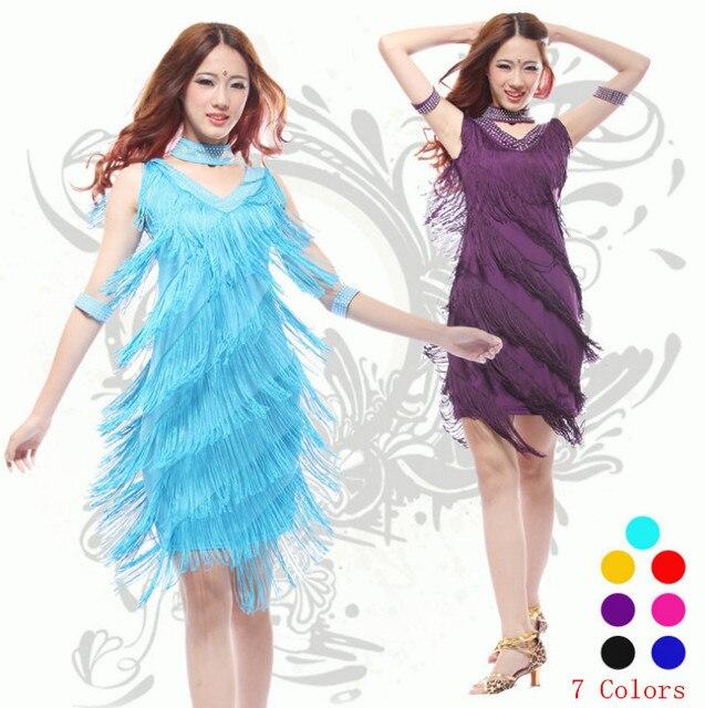 2019 Vintage Bling Fashion V Neck 1920s Sequin Fringe Charleston Flapper Great Gatsby Stage Dance Clothing Dresses Wear Costumes