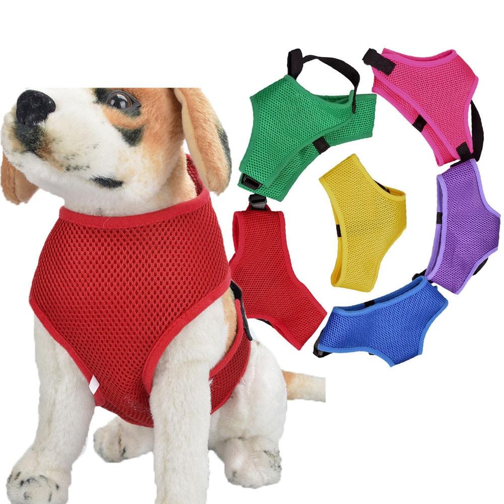 XS/S/M/L/XL Adjustable Comfort Soft Breathable Dog Pet Vest Rope Chest Strap Leash Collar #01