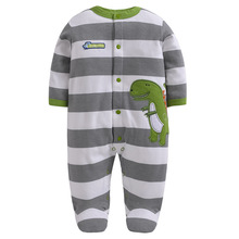 100% Cotton Newborn Baby Boys Brand Long Sleeved Rompers Spring Girls Foot Overalls Infant Jumpsuit Unisex Clothes