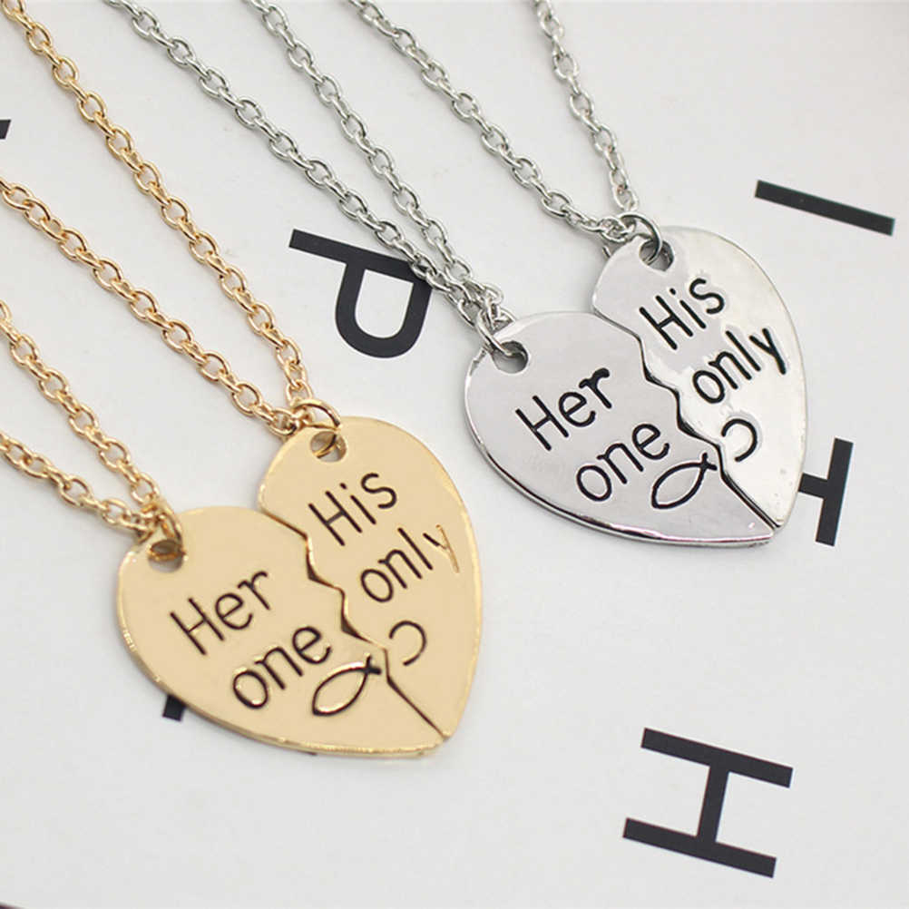 9189a83883 ... 50cm Her One His Only Heart pendant Necklace Chain Valentine Relationship  Necklace for Lovers Couple Jewelry ...