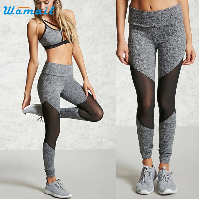 Women Sports Gym Fitness Leggings High Waist Pants Yoga Running Workout Clothes Activing 2017 #A25 women s peacock prints high waist polyester leggings yoga running pants