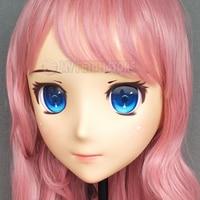 (Jiang 11) Female Sweet Girl Resin Half Head Kigurumi Mask With Glass Eyes Cosplay Anime Role Lolita Mask Crossdress Doll