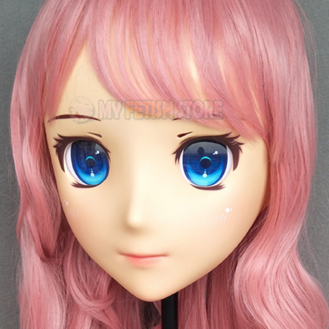female Sweet Girl Resin Half Head Kigurumi Mask With Bjd Eyes Cosplay Japanese Anime Role Lolita Mask Crossdress Doll Boys Costume Accessories p-01