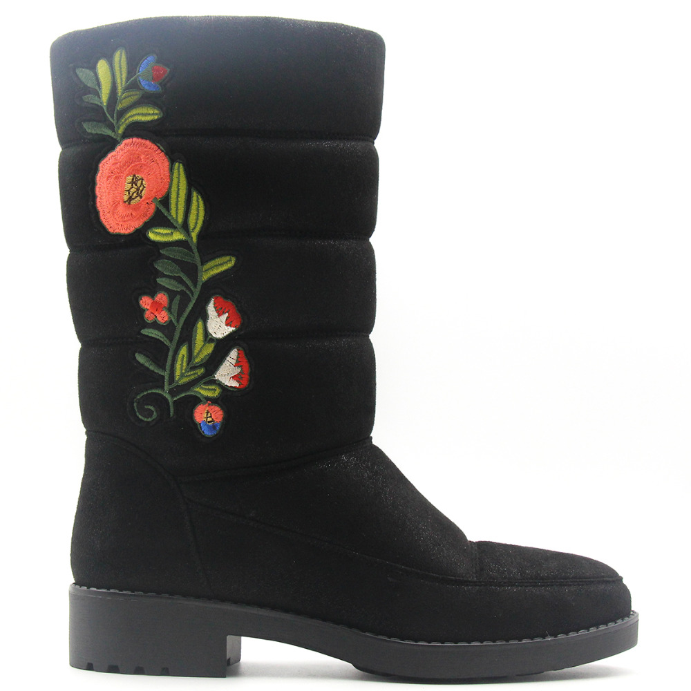 Red Floral Plush Snow Boots Women Bling Black Embroider Fur Winter Rose Flower Shoes Warm Square Mid Calf Med Heel Short Boot