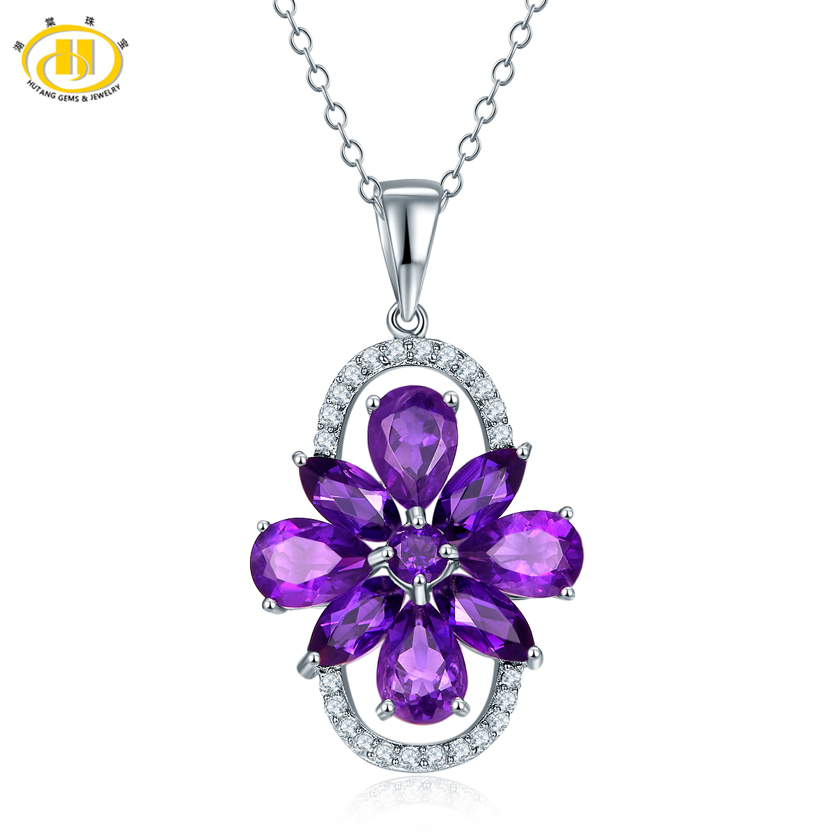 Hutang Natural Amethyst Flower Pendant Necklace Solid 925 Sterling Silver Gemstone Fine Jewelry for Women Christmas Gift 11.11