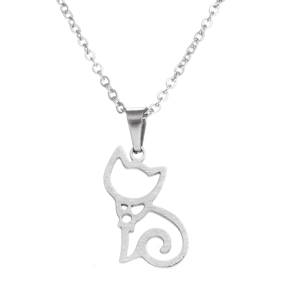 Everfast 1pc Lovely Sitting Cat Pendant Necklaces Stainless Steel Necklace For Women Kids Charm Chain Party Lucky Gift