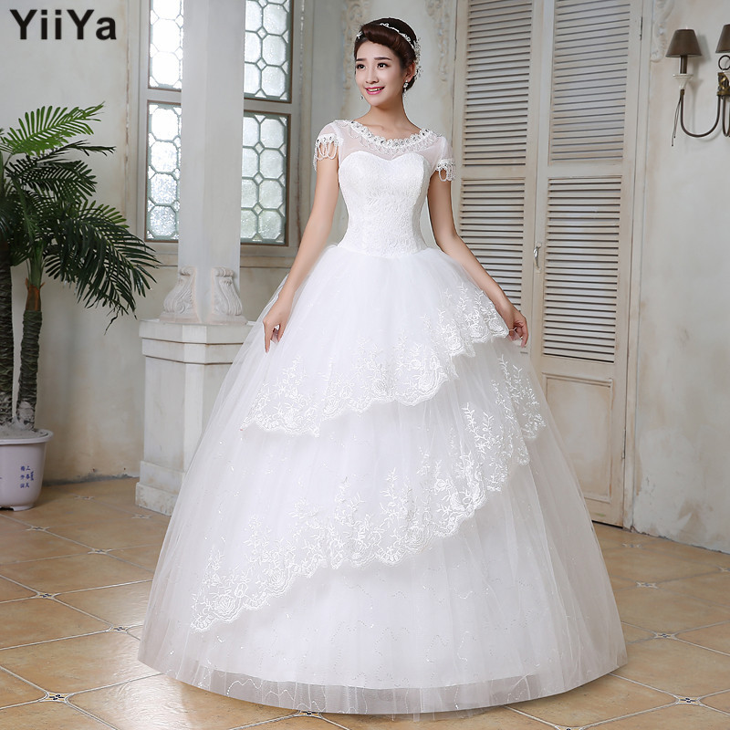 Free shipping wedding dresses 2015 white plus size lace for Cheap plus size wedding gowns