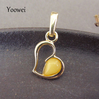 Yoowei Baltic Natural Amber Pendant Gold Color Sterling Silver 925 Tiny Chic Heart Jewelry Amber Hollow Gems Necklace Pendants