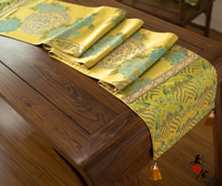 Luxury Blue Peony Tablecloth Handmade Brocade Fashion Wedding Table Runner Traditional Embroidery Home Hotel Villa Decoration