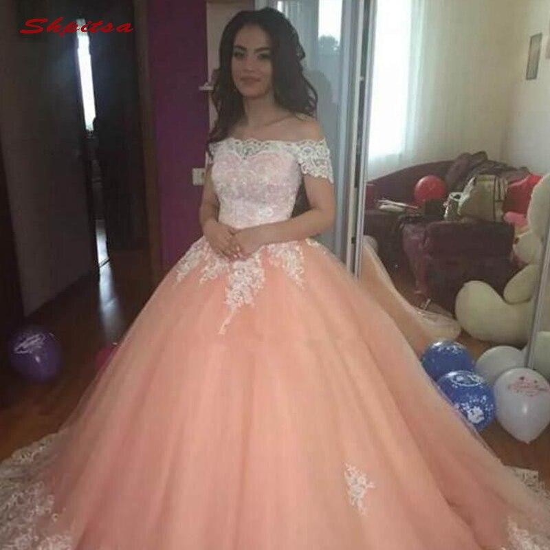 Dentelle Quinceanera robes robe de bal épaule dénudée Tulle bal Debutante seize 15 doux 16 robe - 3