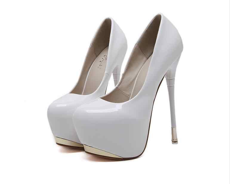 2018 Yeni Klasik 16 cm Patent Ince Yüksek topuklu Platformu Gece Kulübü seksi ayakkabılar Zarif Düğün Ayakkabı