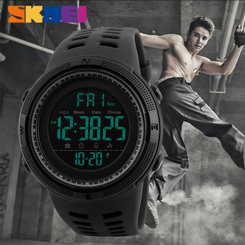 SKMEI Sport Electronic Watch Men Waterproof 50m Outdoor Digital Watches Countdown Double Time Alarm Wristwatches Reloj Deportivo