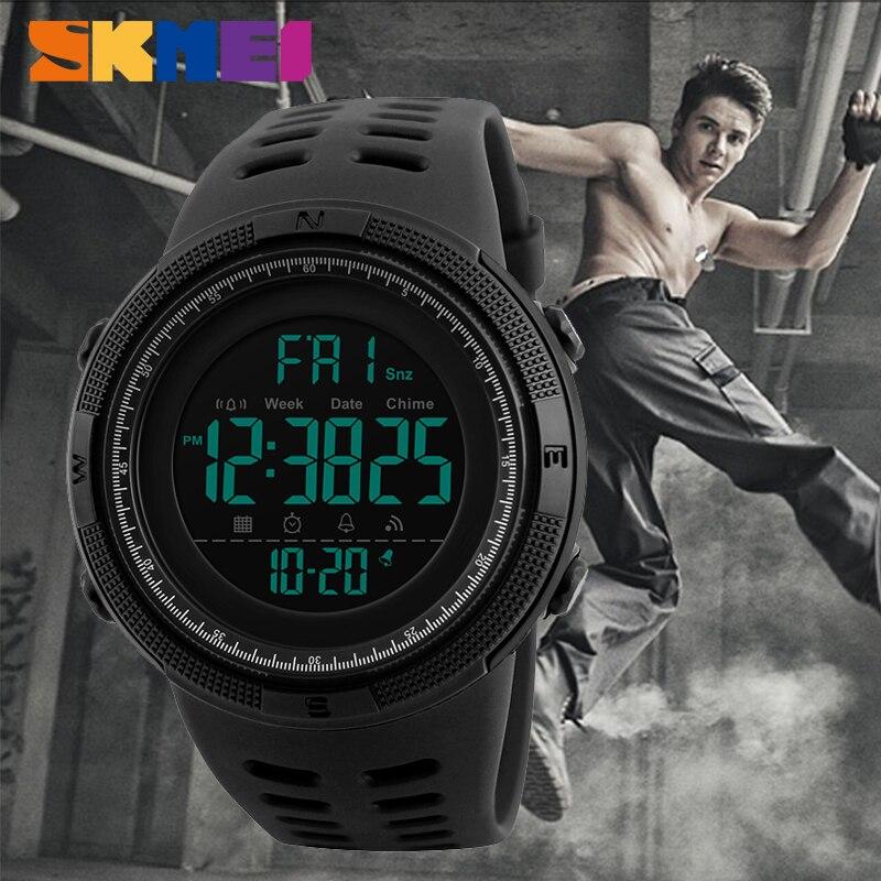 SKMEI Sport Elektronische Uhr Männer Wasserdichte 50 mt Outdoor Digitale Uhren Countdown-Doppel Zeit Alarm Armbanduhren Reloj Deportivo