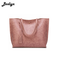 Fashion Women Big Tote Handbags Solid Casual All Match Tassel Shoulder Bag For Lady Female Classic