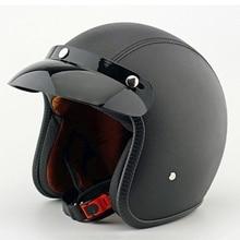 Unisex DOT Retro Motorcycle Helmets Black Half Face Helmet Chopper Cruiser Biker High Quality ABS S