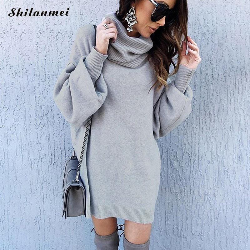 Women Sweater Autumn Winter Turtleneck Loose Long Sleeve Oversize Jumper Tops Fashion 2019 Casual Solid Knitting Pullover Femme