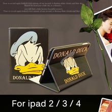 Tablet Case for Apple ipad 4 / 3 / 2 Daisy Duck & Donald Duck lovers style PU leather protective Cover stand shell coque para