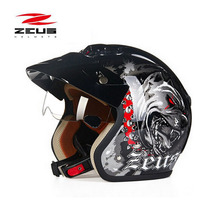 Sicurezza elettrica di marca DOT ZEUS ZS-381c cane 3/4 aperto del motociclo del fronte Fodera del casco unpick lavaggio, moto scooter casco M 3XL