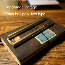 Vintage brass ball pen for travelers journal notebook 0.5mm pen core refill ball pen length 14cm have clip style school supplise