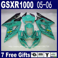 Hot Sale fairing kit for Injection mold SUZUKI GSXR 1000 05 06 K5 GSXR1000 2005 2006 black flames in blue fairings set RR45