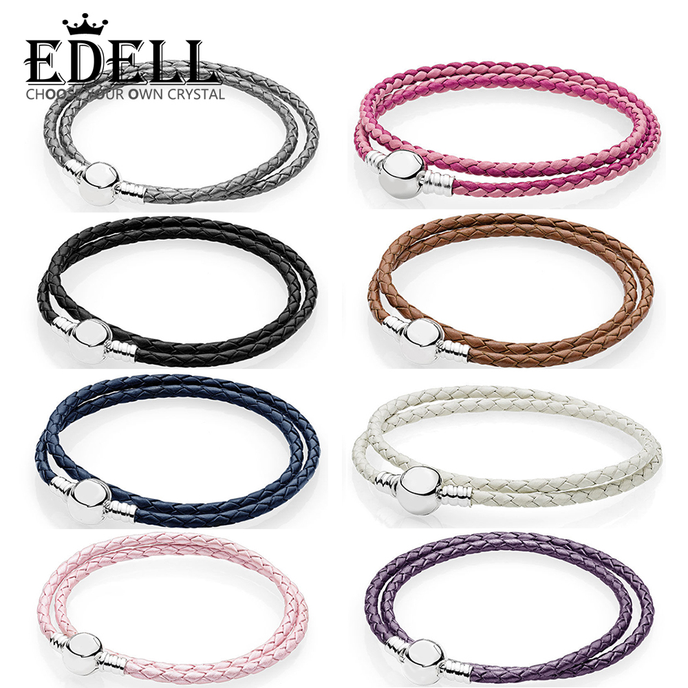 EDELL 100% 925 Sterling Silver Fashion Lovers Leather Double Loop Bracelet (Multi Color Choice) DIY Gift Jewelry Factory Direct