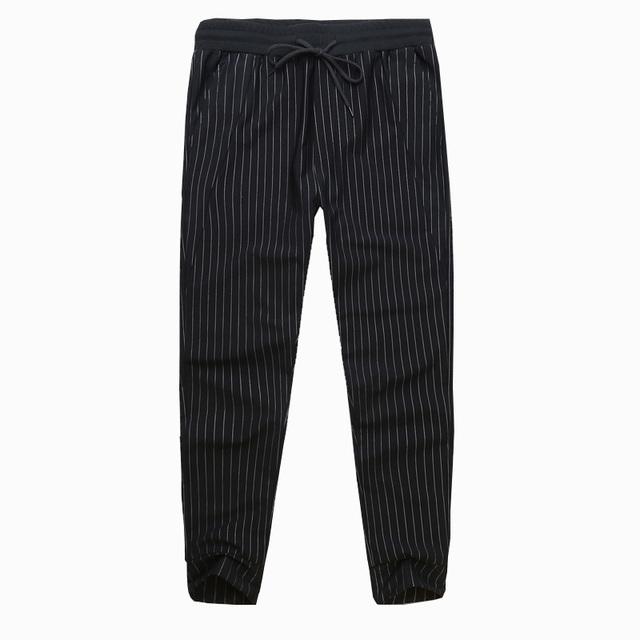 Alta calidad del verano de rayas pantalones Harem Mens tobillo longitud de los pantalones pantalones lápiz ocasionales flojos moda cintura elástica pantalones de algodón