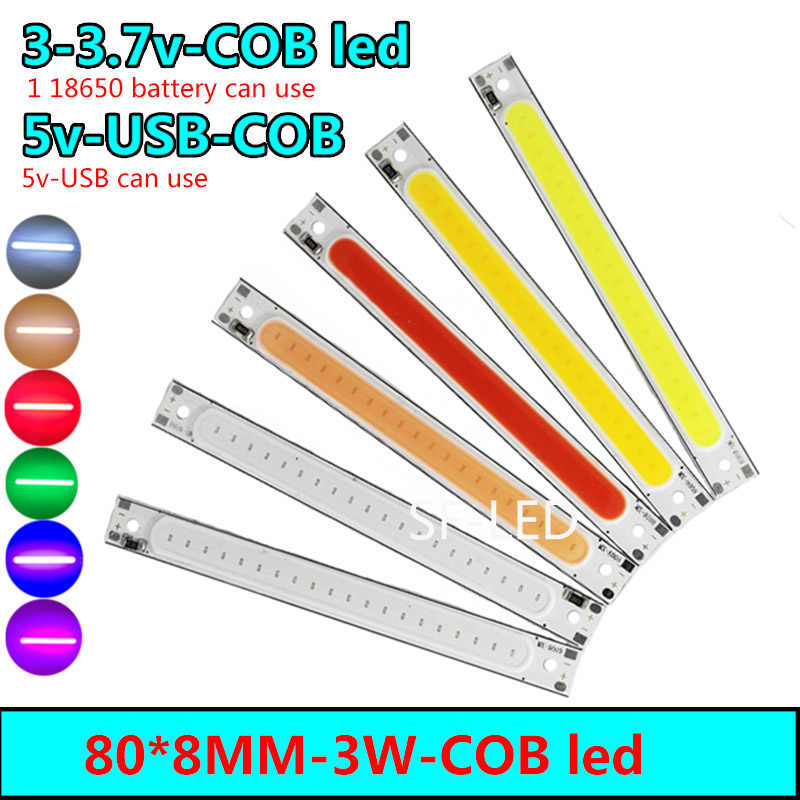 3v5v Red /warm/white/Blue Color LED COB Source Bar chip diodes 3W LED COB strip low voltage 3V 1 battery 5v led 5v USB For light