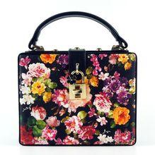 Exclusive original flower print head lock bag, upscale wooden box hasp shoulder bag,cute original design bags